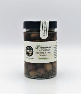 """Olives dénoyautées à l'huile d'olive, Ail et fines herbes """"La Traditionnelle"""" BIOLOGIQUES - 170 grammes."""