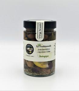Olives dénoyautées à l'huile d'olive, CITRON et fines herbes «La Traditionnelle» BIOLOGIQUES - 170 grammes.