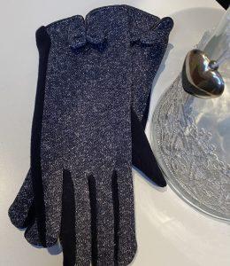 Gants noirs et bleus pailletés