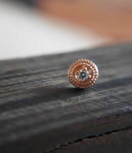 Double millgrain rond or 14k